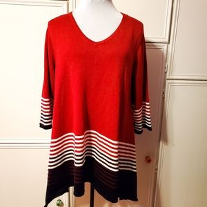 Red White & Black Striped Knit Tunic